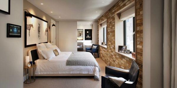 dormitorio pequeño apartamento de la pared de ladrillo de diseño de