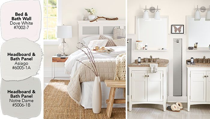 Paint Color Ideas For A Coordinated Bedroom And Bathroom White Upholstered Headboard White Bedroom White Headboard
