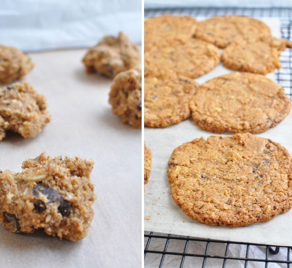 crispy whole wheat chocolate chip, coconut, and almond cookies