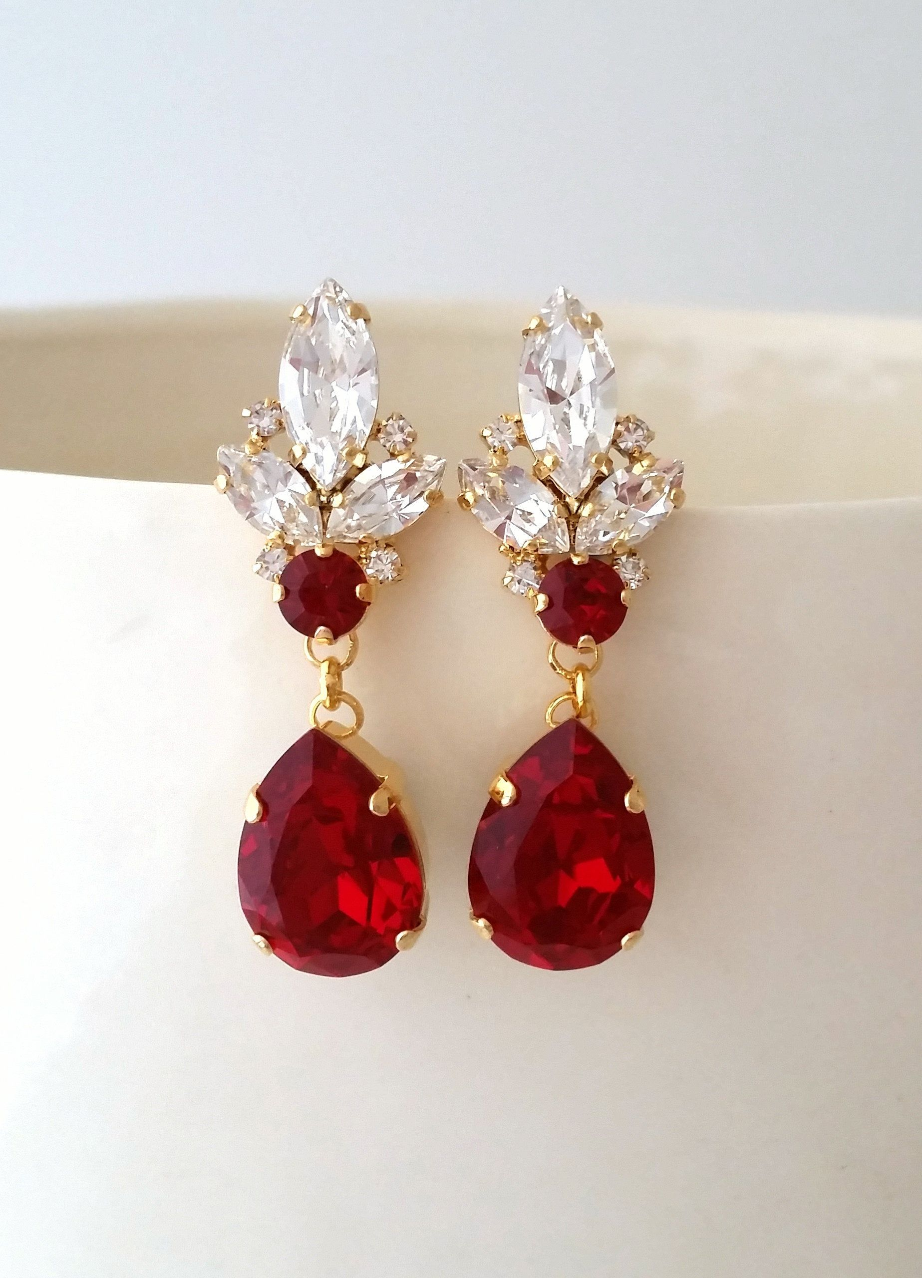 Garnet romantic earrings,elegant earrings,garnet earrings,delicate earrings,gift for her,gothic jewelry,romantic gift,minimalist earrings