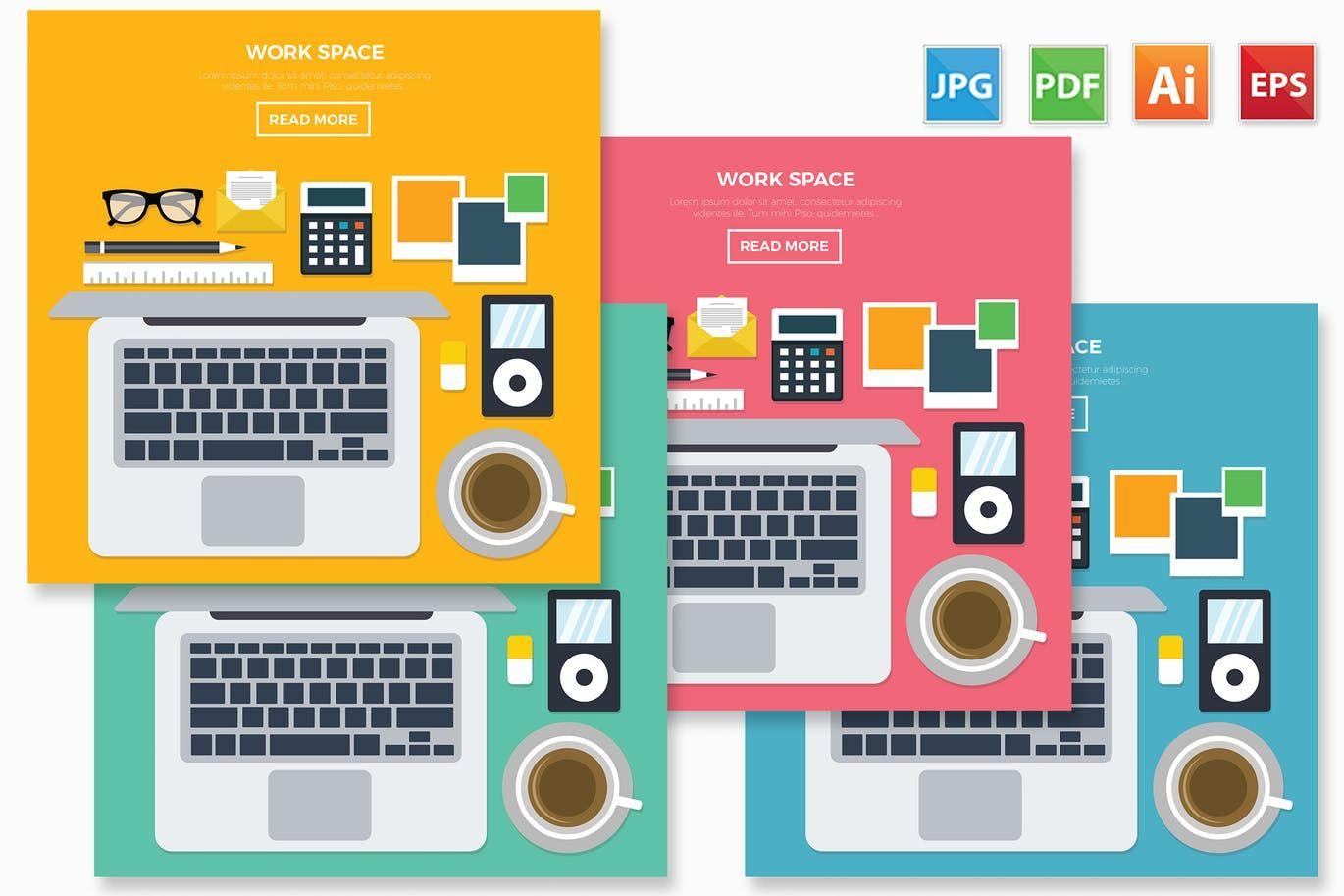 Work Space Design Vector Illustration AI, EPS  Download