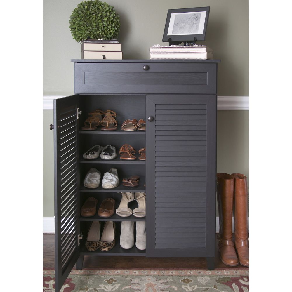Baxton Studio Euan Espresso Wood Shoe Cabinet   Overstock™ Shopping   Great  Deals On Baxton