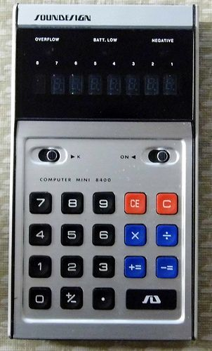 Vintage Soundesign Electronic Pocket Calculator, Model 8400 (a.k.a. Computer Mini), VFD, Made In Japan, Circa 1970s.