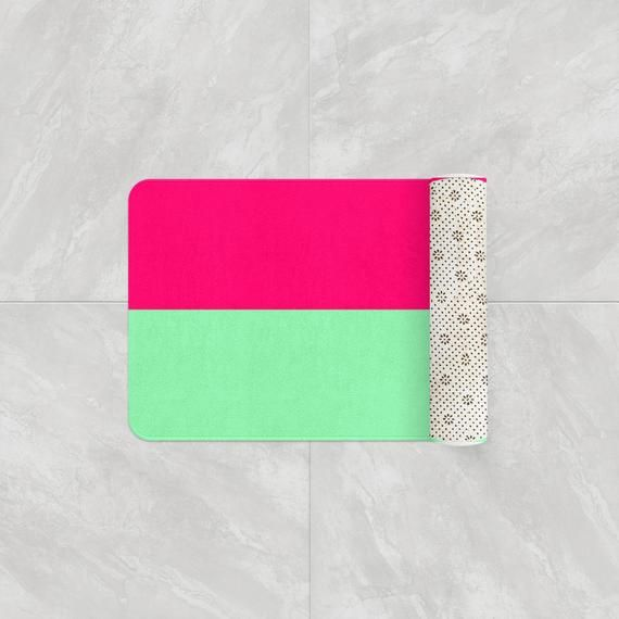 Hot Pink Mint Green Colorblock Bath Mats Neon Bathroom Rug