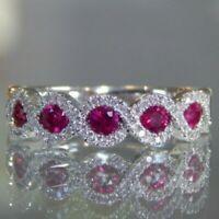 Turkish Handmade Sterling Silver 925 Ruby Ring Ladies 6 7 8 9 10