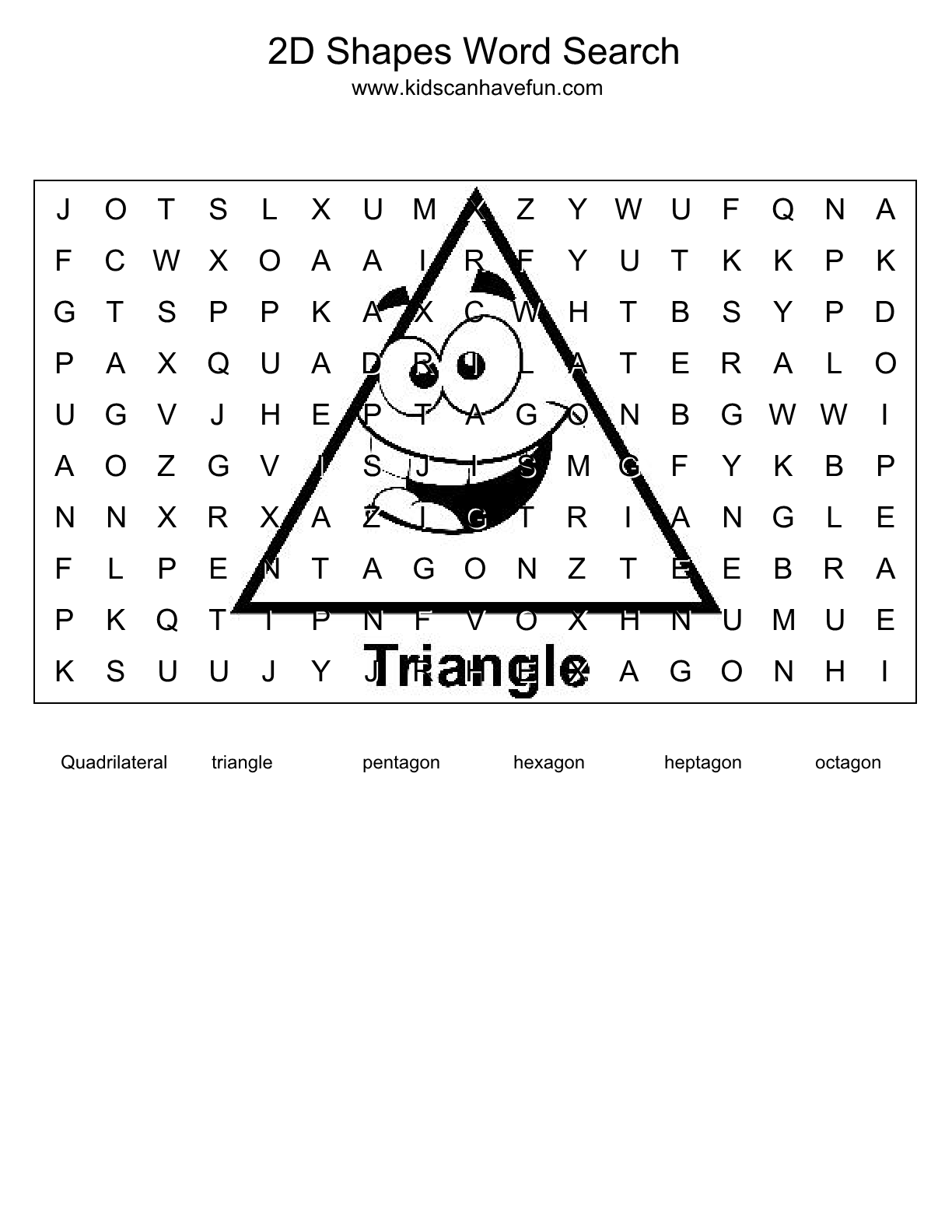 Game with shapes of different colors crossword - 2d Shapes Word Search Puzzle Http Www Kidscanhavefun Com Word
