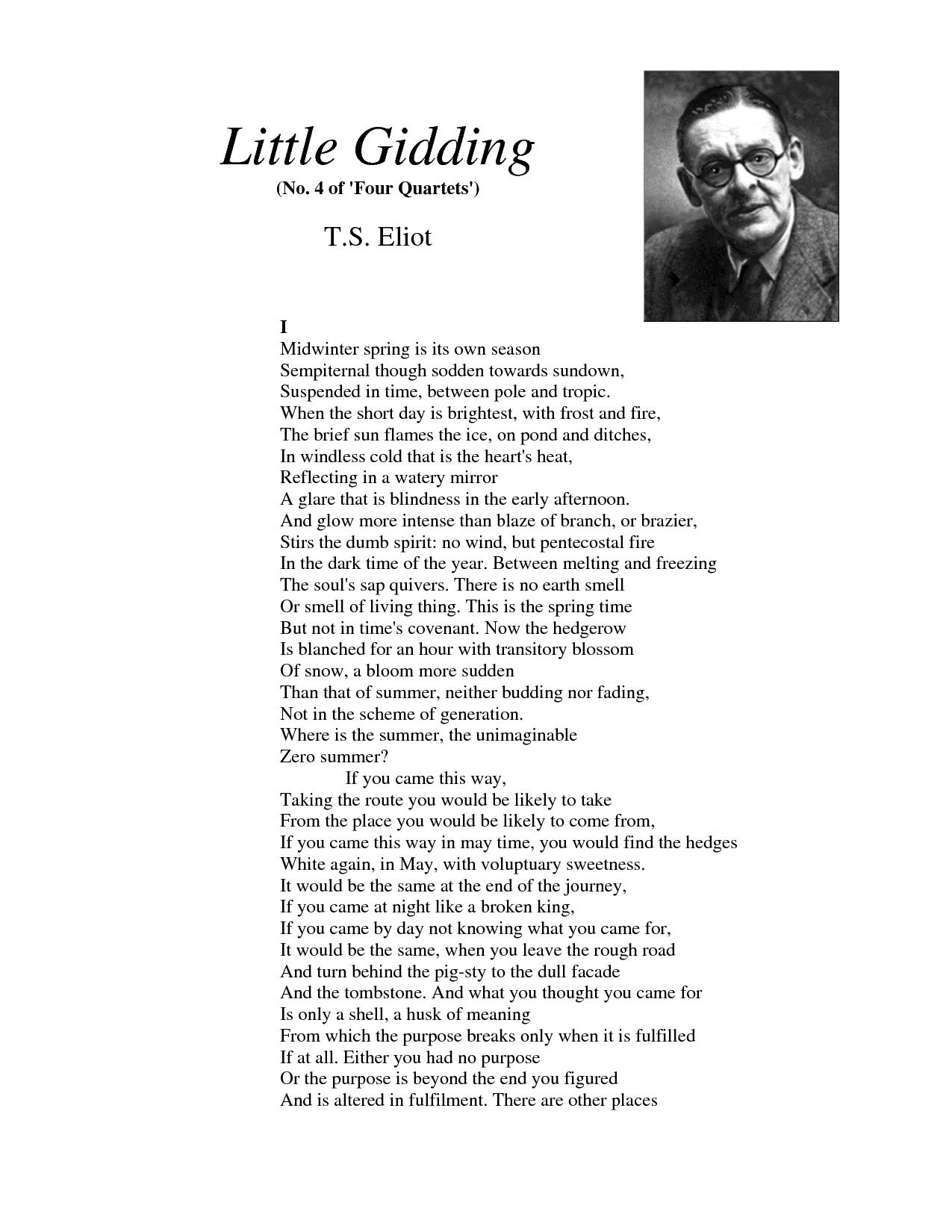 """Little Gidding (No. 4 of """"Four Quartets"""") T.S. Eliot"""