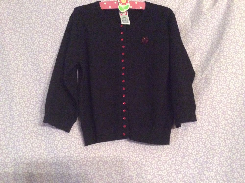 Gymboree Girl Snap Black Crdigan Sweater/ Red Bead Lady Bug Size Large Size 5 yr #Gymboree #Cardigan
