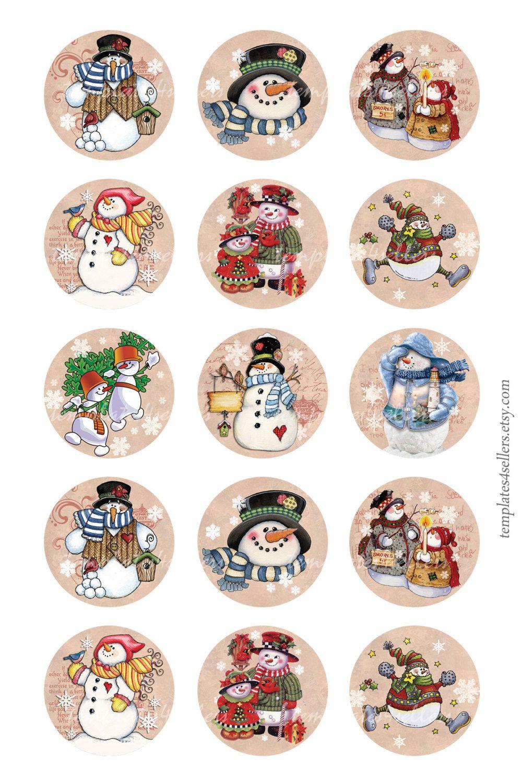 Digital Collage Sheet Snowman Christmas New Year 1