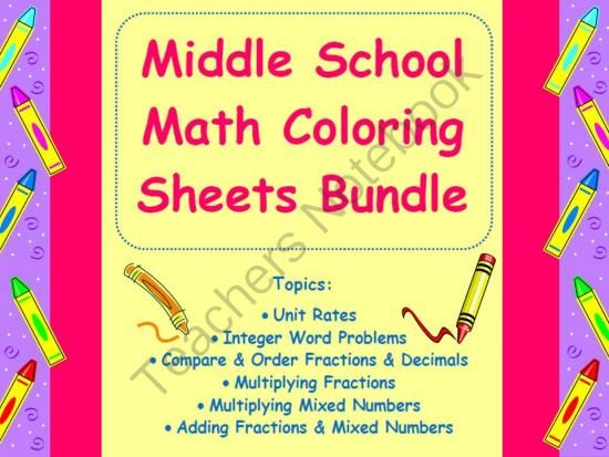 Middle School Math Coloring Sheets Bundle From Math In The Middle