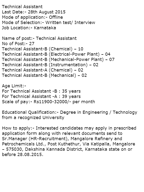 Recruitment In Mrpl  Government Jobs In Karnataka