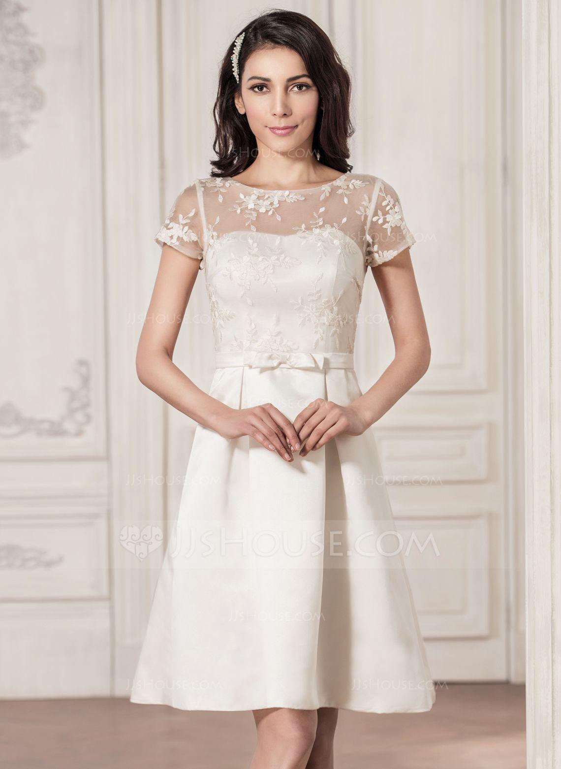 ALine/Princess Scoop Neck KneeLength Satin Lace Wedding