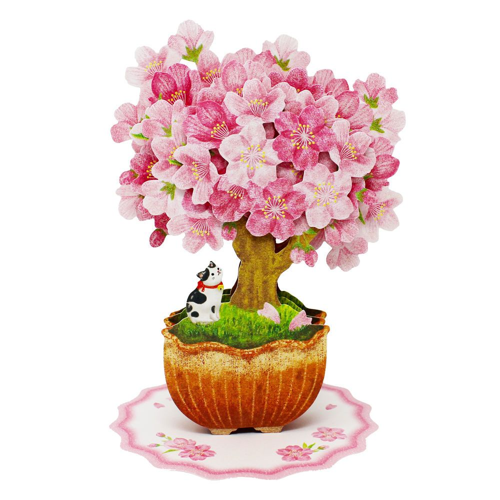 Bonsai Cherry Blossom Tree With Cat Multipurpose Pop Up Greeting Card Hallmark Popupcard BirthdayMothersDayEaster