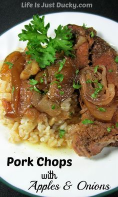 Pork Chops with Apples and Onions - a new favorite family recipe. You can make this in a slow cooker, a solar oven or a dutch oven. So easy and SOOOO GOOD! Make this for dinner tonight!