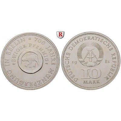 DDR, 10 Mark 1981, Münze Berlin, st, J. 1582: Kupfer-Nickel-10 Mark 1981. Münze Berlin. J. 1582; stempelfrisch 28,00€ #coins