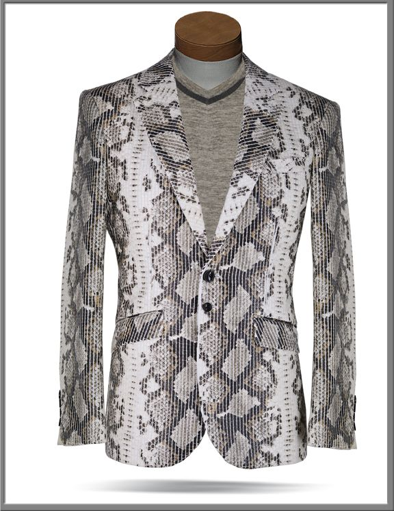 24548337 Angelino Fashion sport coat with snake print fabric, leather looking and  real snake fabric touch