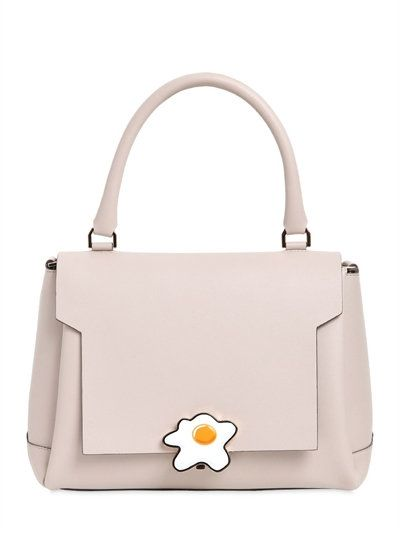 ANYA HINDMARCH Small Egg Lock Leather Satchel Bag, Light Grey. #anyahindmarch #bags #shoulder bags #hand bags #leather #satchel #lining #