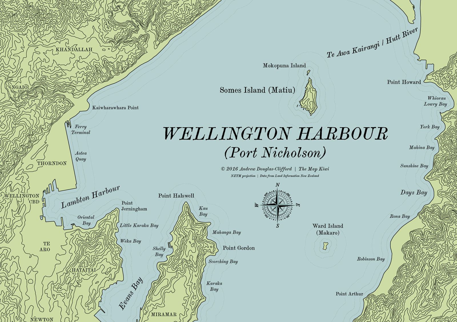 Map Wellington New Zealand.Wellington Harbour Terrain Map Maps By The Map Kiwi Map