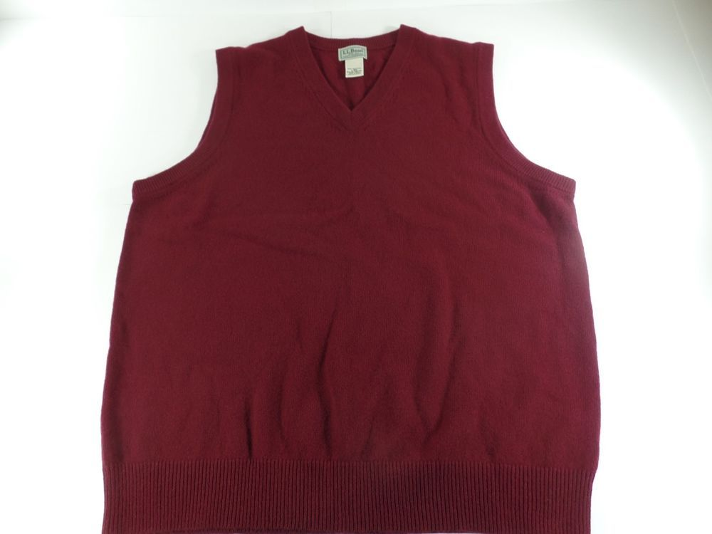 LL Bean Lambs Wool Mens V Neck Sweater Vest Size Large Maroon ...