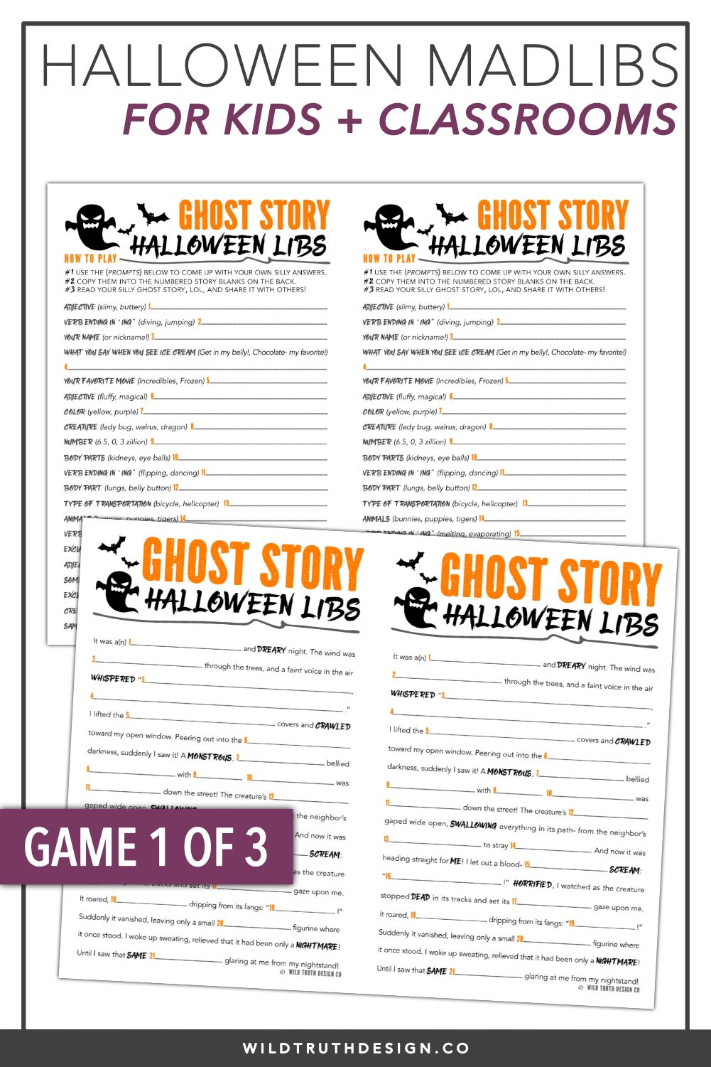 photograph regarding Halloween Mad Libs Printable titled Halloween Higher education Bash Game titles - Ridiculous Libs Crosswords