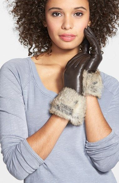 Fownes Brothers Leather & Rabbit Hair Tech Gloves available at #Nordstrom