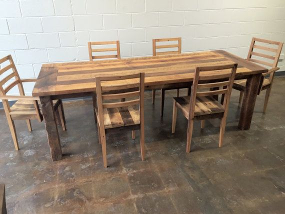 Delightful Reclaimed Wood Extendable Farmhouse Dining Table / Smooth Finish U0026  Extension Leaf