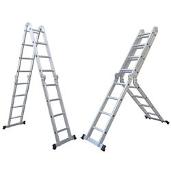 Aleko Fl 12 Multi Purpose Multiple Position 12 Step Aluminum Folding Ladder Price 109 00 Multi Purpose Ladder Folding Ladder Ladder