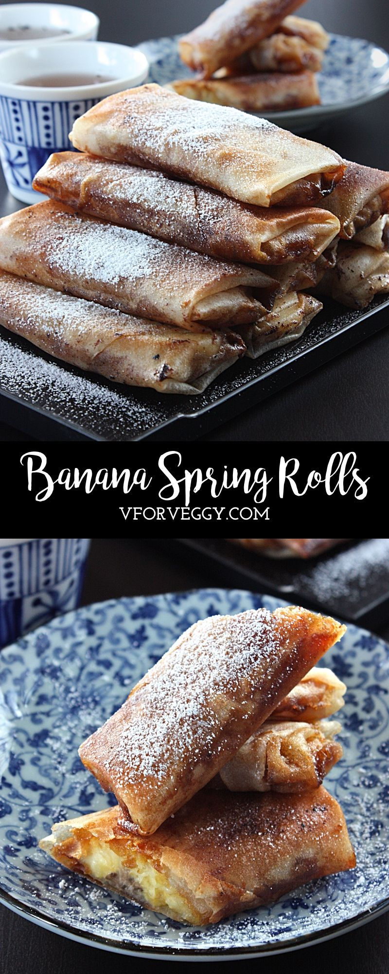 Banana spring rolls indonesian lumpia pisang philippines turon banana spring rolls v for veggy forumfinder Image collections