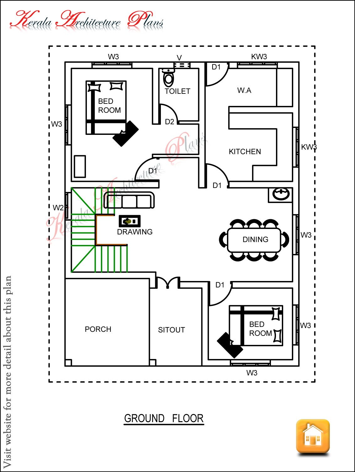 Kerala Architecture Plans Dec 08 Gf Jpg 1132 1505 Three Bedroom House Plan Bedroom House Plans Architectural House Plans