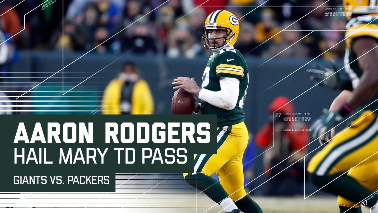 Aaron Rodgers Hail Mary Before Half Giants Vs Packers Nfl Wild Car Aaron Rodgers Hail Mary Nfl Packers Aaron Rodgers
