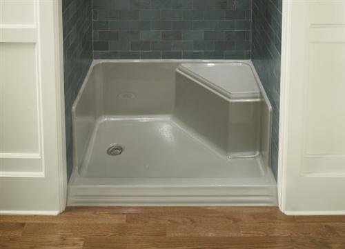 Kohler K 9486 0 Memoirs 48 Shower Base With Seat Bathroom