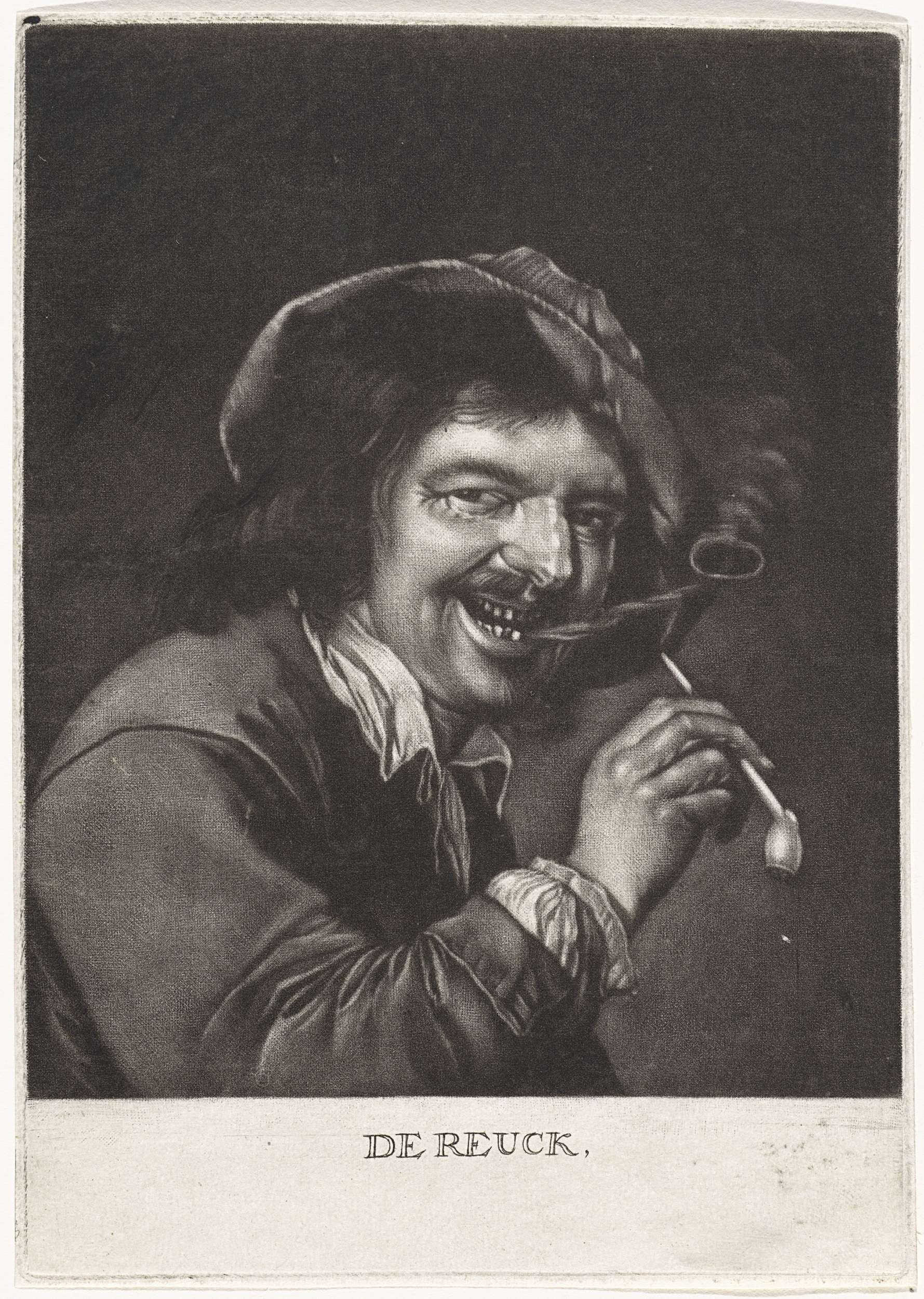 Pieter Schenk (I) | De Reuk, Pieter Schenk (I), Petrus Staverenus, 1670 - 1713 | Het zintuig Reuk. Een man rookt een pijp en blaast een ring van rook uit. De prent maakt deel uit van een serie met de vijf zintuigen.