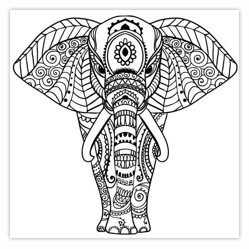 Coloriage Mandala Animaux Sauvages.Stickers Deco Elephant Mandala Dessins Deco