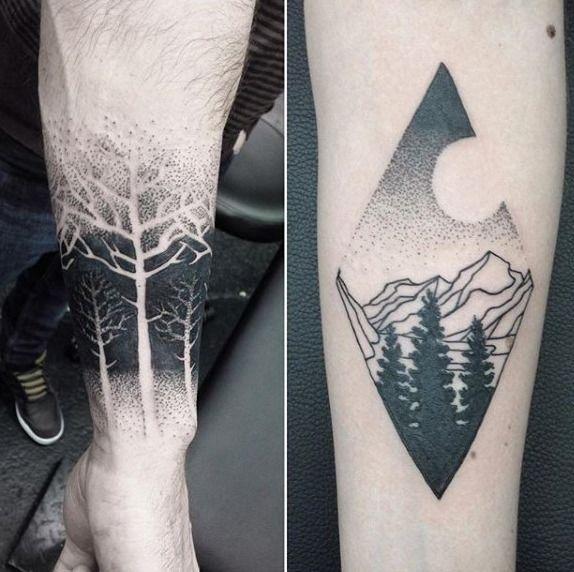 Cool Dotwork Guys Negative Space Tree Forearm Tattoo Ideas ...