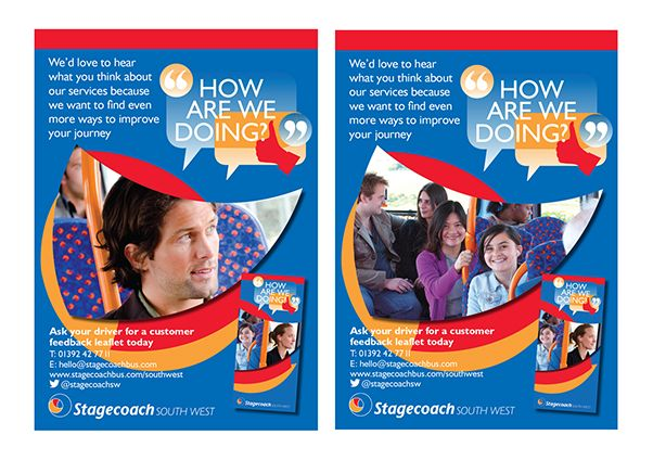 Posters for the Stagecoach Southwest buses, to encourage - customer feedback form