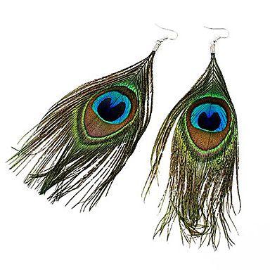 2 09 Women S Drop Earrings Feather Peacock Bohemian Fashion Boho Folk Style Feather Peacock Feather Earrings Jewelry Dark Green For Party Peacock Feather Earrings Feather Earrings Bohemian Style Earrings