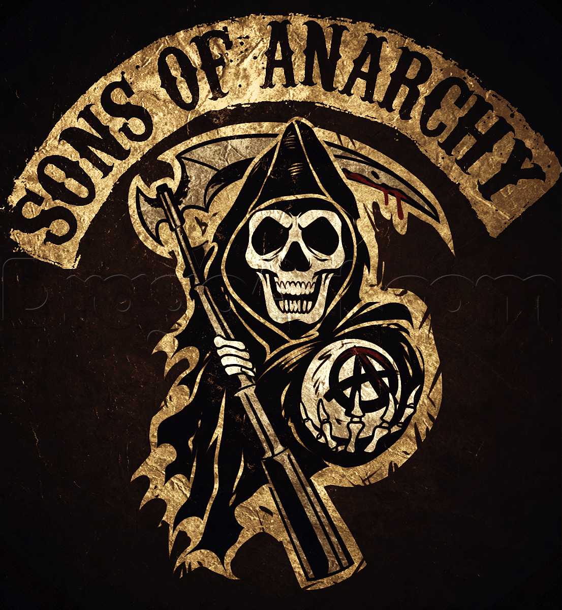 How To Draw The Sons Of Anarchy Step By Step Symbols Pop Culture Free Online Drawing Tutoria Sons Of Anarchy Sons Of Anarchy Tattoos Sons Of Anarchy Reaper