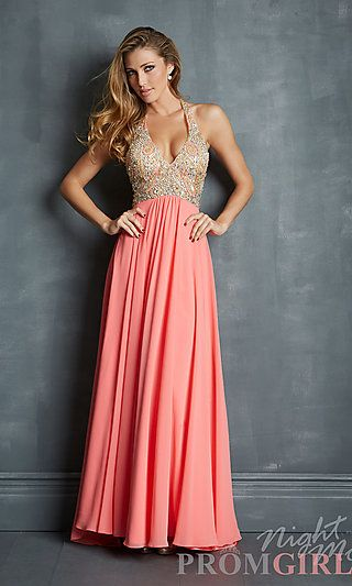 bf8f204f91 Long V-Neck Beaded Halter Gown by Night Moves 7082 at PromGirl.com ...