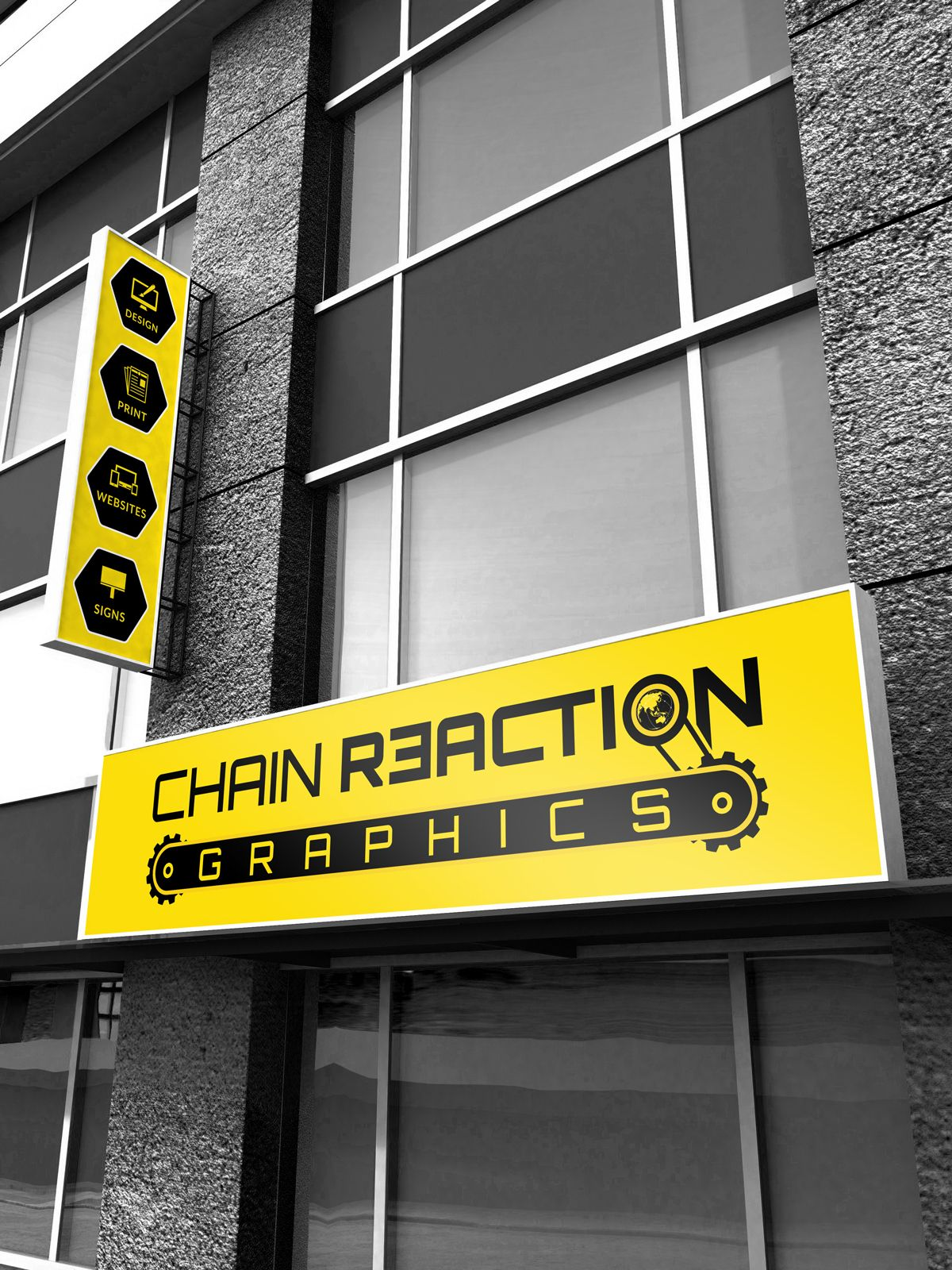 Chain Reaction Graphics on Behance #Outdoor #Signage #Shop ... for Light Box Branding  111ane