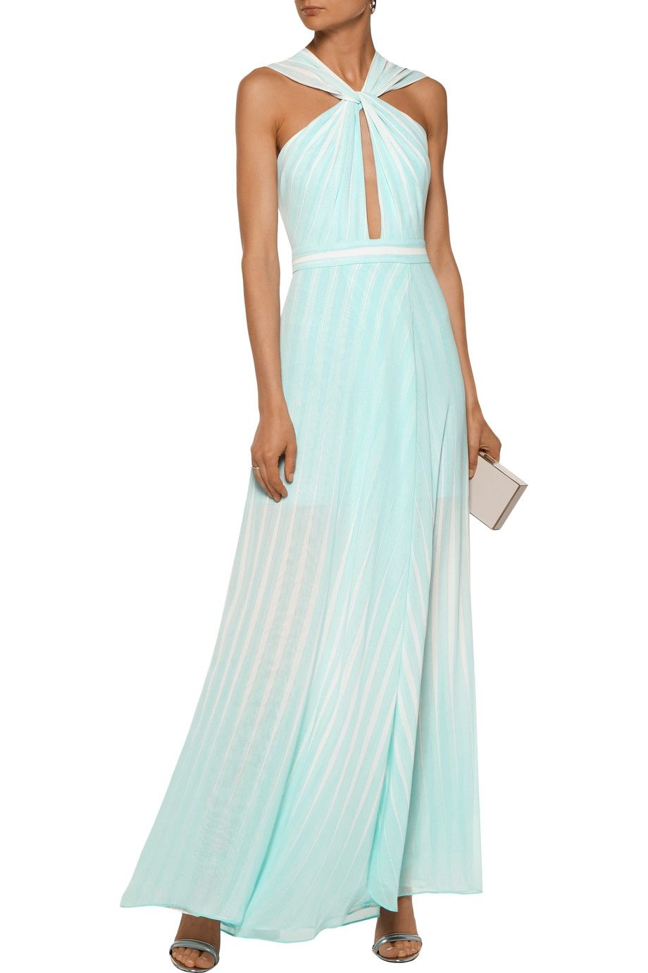 Shop On Sale Halston Heritage Twisted Striped Chiffon Gown Browse