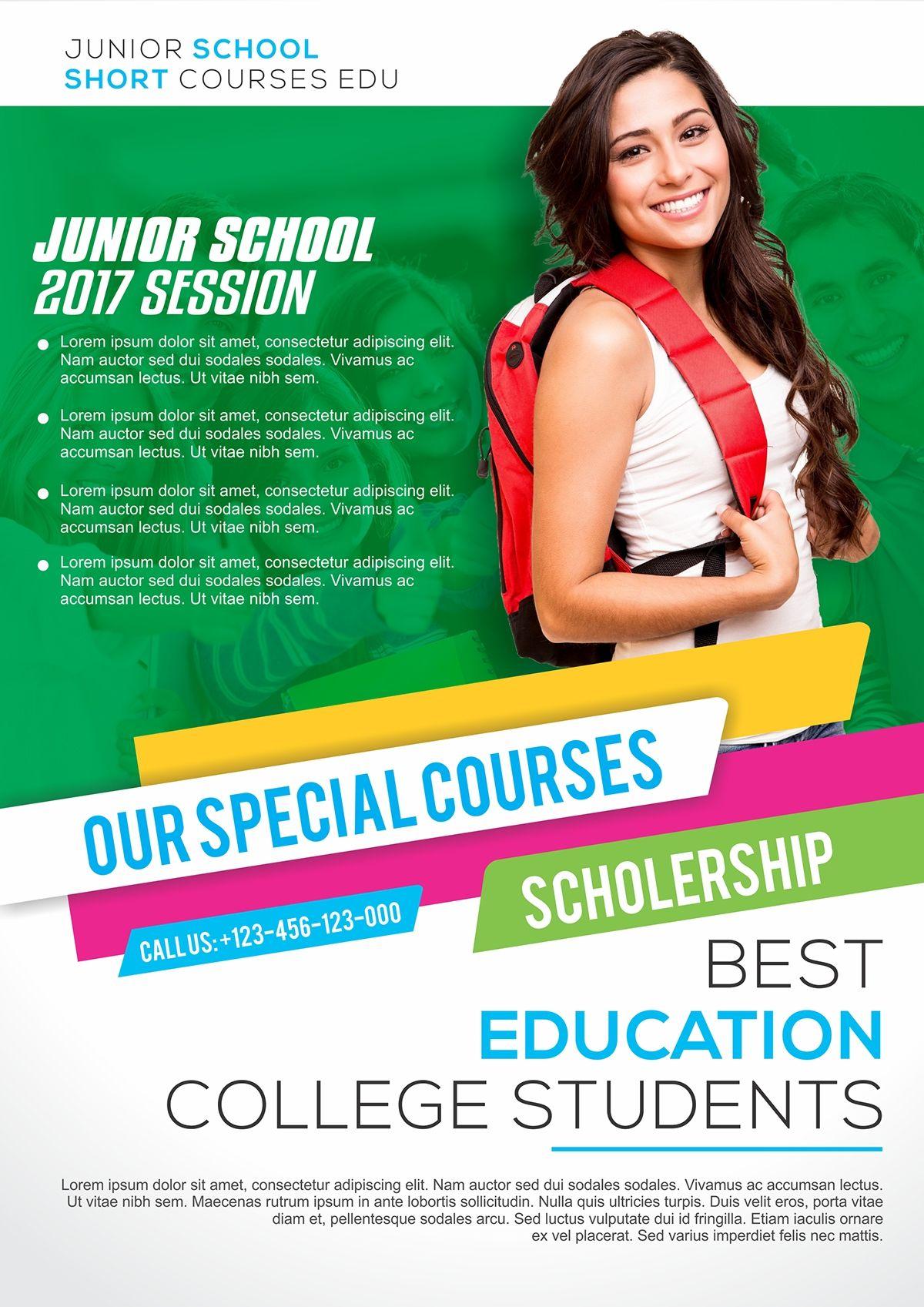 School Flyer A4 Size On Behance Pamphlet Design Graphic Design Ads Education Poster Design
