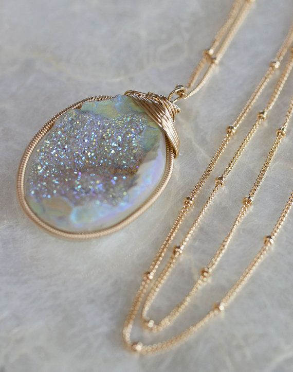 Hey, I found this really awesome Etsy listing at https://www.etsy.com/listing/126639091/druzy-necklace-white-druzy-necklace-long