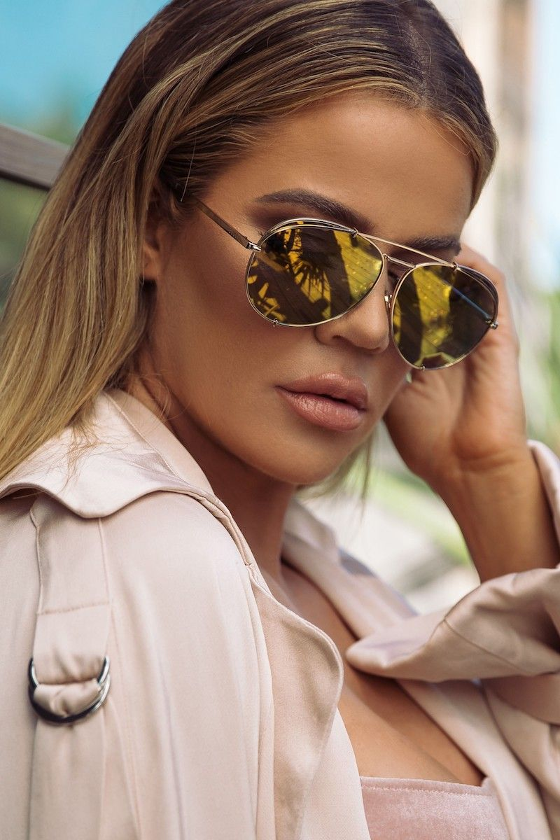 01af08841d006 DIFF x Khloé Koko 63mm Oversize Aviator Sunglasses in Gold