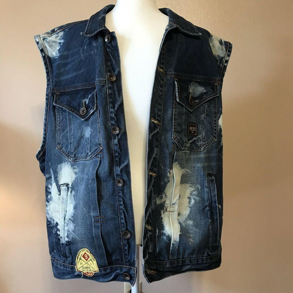 17035221a9212 Denim Blue Jean Vest Distressed Akoo Brand Mens Size 2XL #AKOO #Vest ...