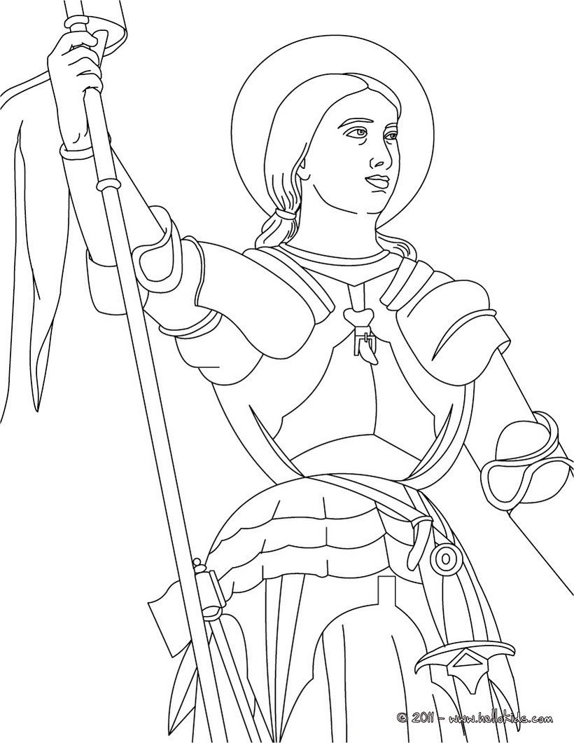 Joan Of Arc The Maid Of Orleans Coloring Page With Images Joan