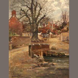George Gardner Symons (American, 1863-1930) English village  9 1/4 x 7 1/4in Estimate: US$ 800 - 1,200 £490 - 740 €620 - 920