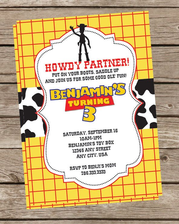 Toy Story Invitation or Invite Woody Jessie 1500 via Etsy