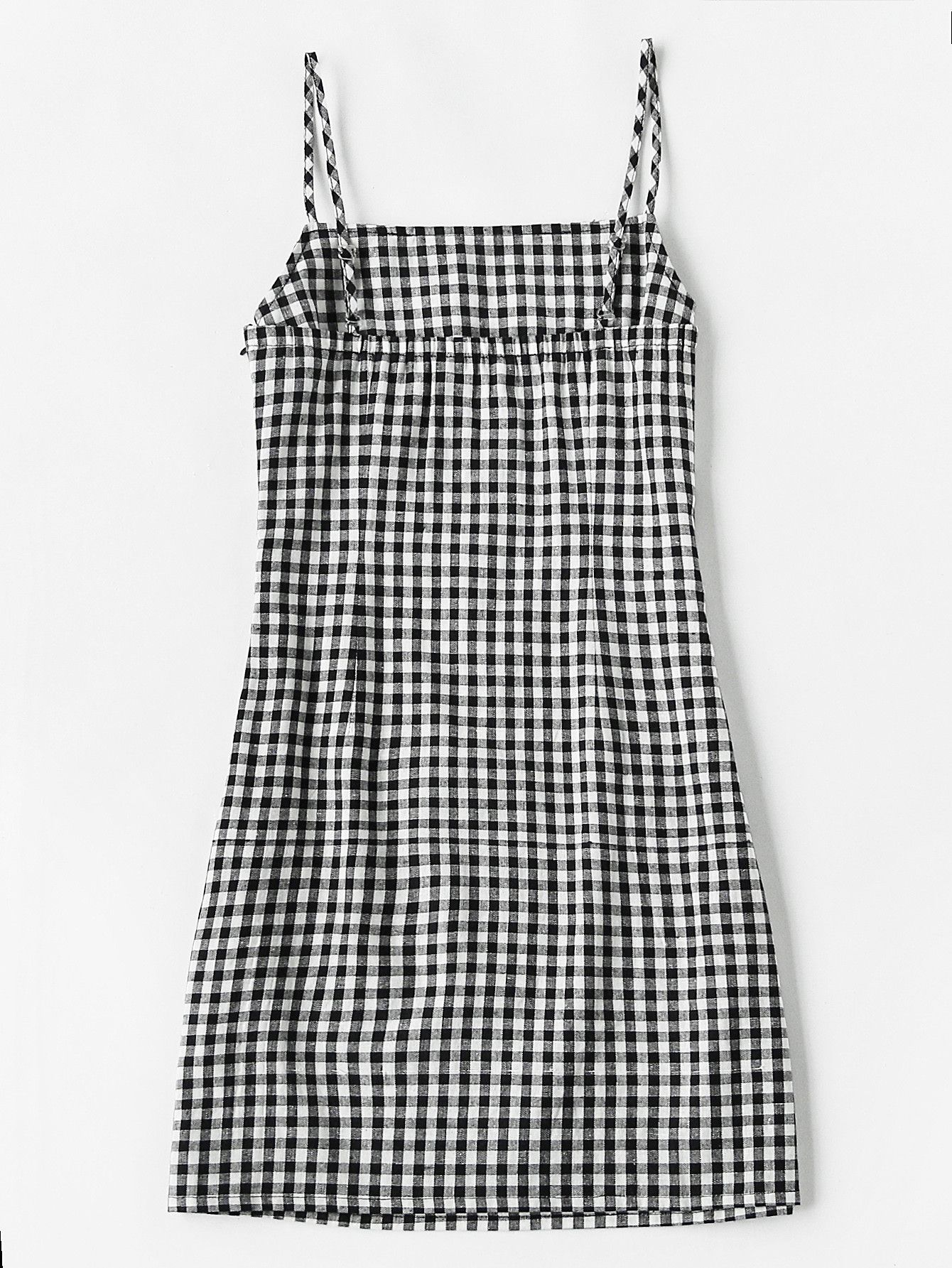 Fabric Fabric Has No Stretch Season Summer Type Slip Pattern Type Plaid Sleeve Length Sleeveless Color Black A Checkered Dress Cami Slip Dress Cami Dress
