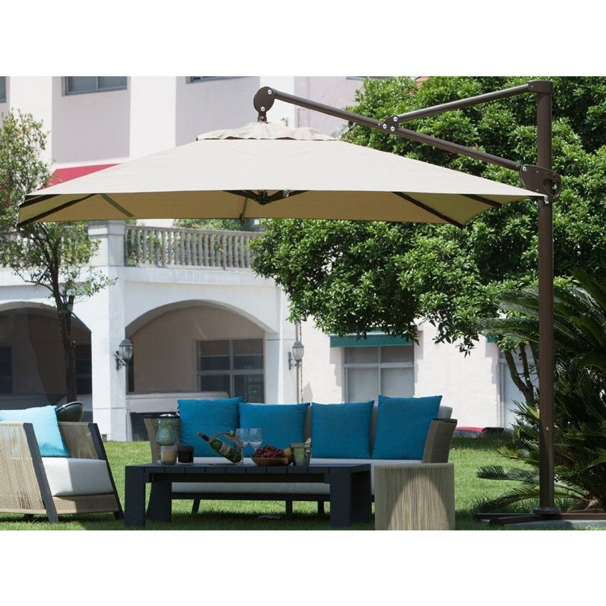 Abba Patio Deluxe Square Offset Cantilever Patio Umbrella, Outdoor Hanging Canopy With Vertic