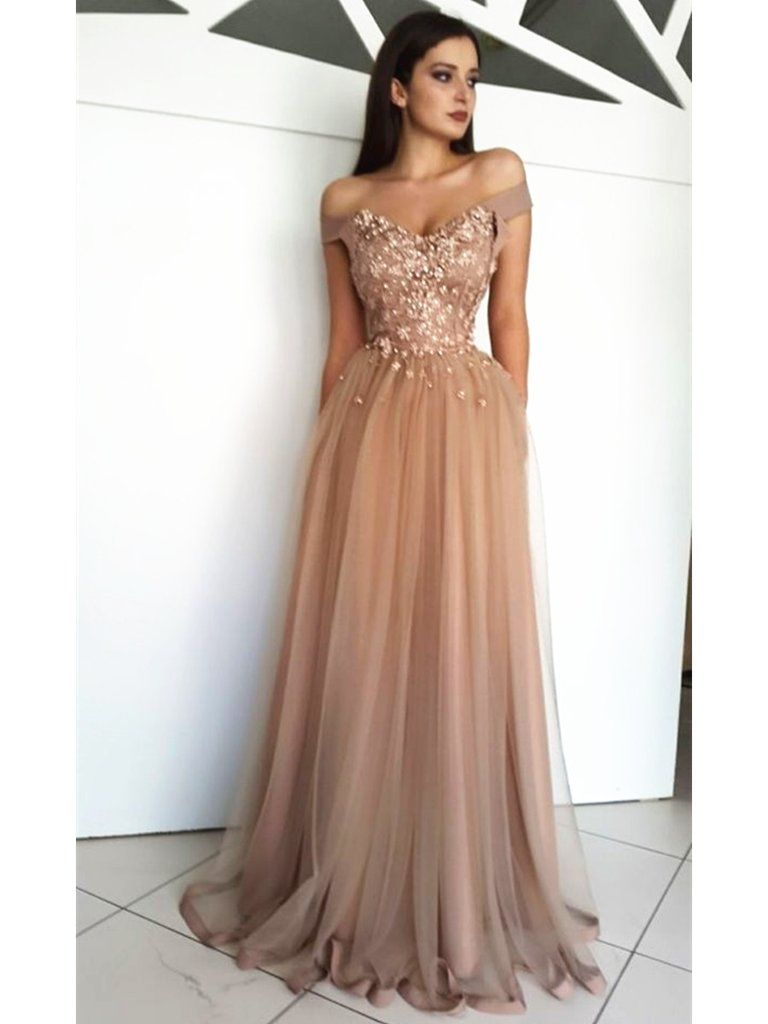 Custom Made A Line Off Shoulder Tulle Lace Prom Dresses, Off